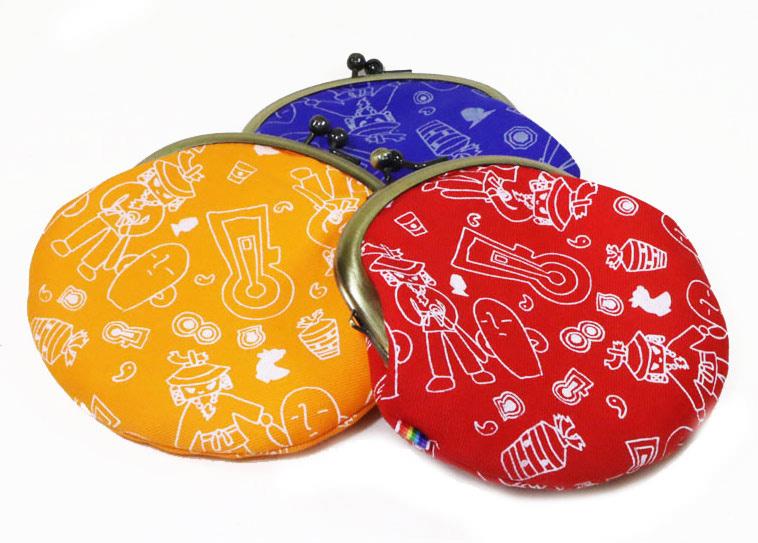 ハニワこうてい柄がま口財布